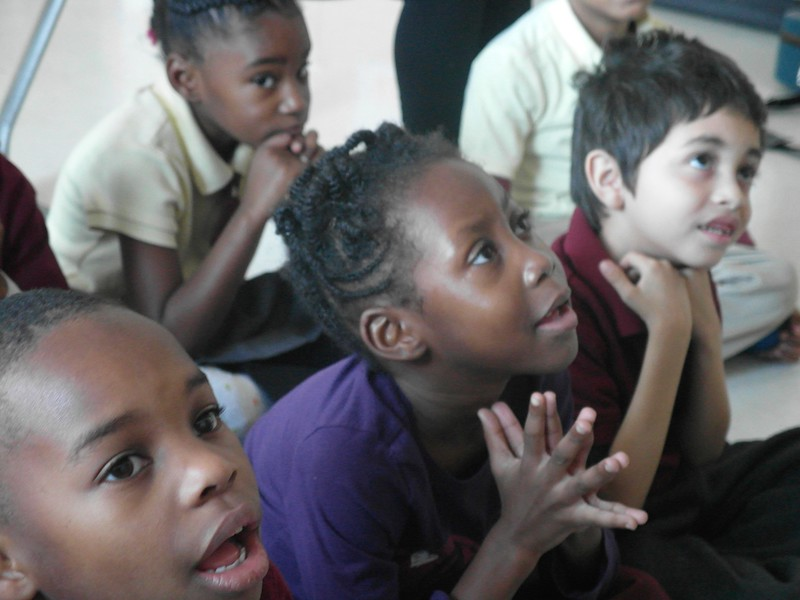 Kids Listening in Classroom During Songwriting Residency