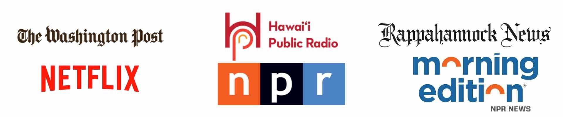 Media Logo Banner NPR, Washington Post, Netflix