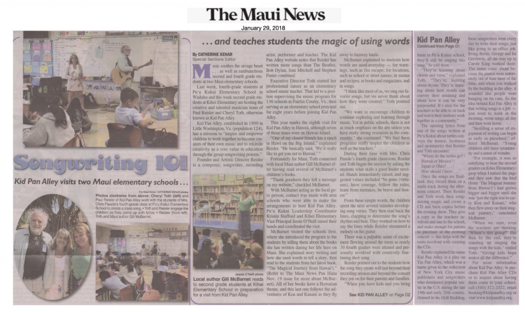 Maui News - Kid Pan Alley visits two Maui Schools